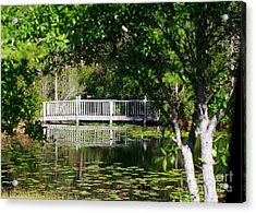 Acrylic Print featuring the photograph Bridge On Lilly Pond by Lori Mellen-Pagliaro