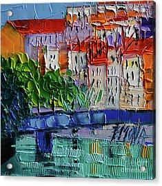 Bridge On The Saone River - Lyon France - Palette Knife Oil Painting By Mona Edulesco Acrylic Print