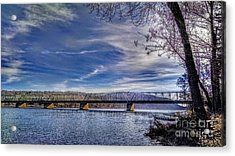Bridge Over The Delaware River In Winter Acrylic Print