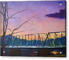 Bridge Sunset Acrylic Print by Robert Henne
