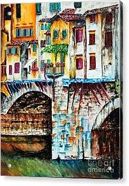 Bridge The Gap Acrylic Print by Maria Barry