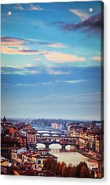 Acrylic Print featuring the photograph Bridges Of Florence by Andrew Soundarajan