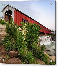 Bridgeton Covered Bridge - Indiana Square Art Acrylic Print by Gregory Ballos