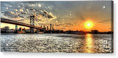 Bridging Two Cities. Philly Skyline View From Camden. Acrylic Print