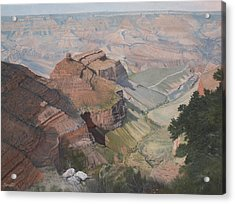 Bright Angel Trail Looking North To Plateau Point, Grand Canyon Acrylic Print by Barbara Barber