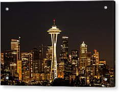 Bright At Night - Space Needle Acrylic Print by E Faithe Lester