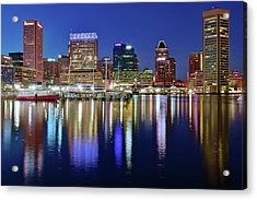 Acrylic Print featuring the photograph Bright Blue Baltimore Night by Frozen in Time Fine Art Photography