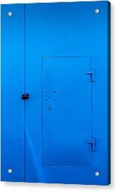 Bright Blue Locked Door And Padlock Acrylic Print