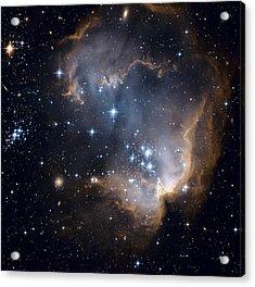 Bright Blue Newborn Stars Blast A Hole Acrylic Print by ESA and nASA