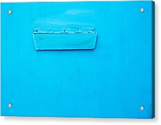 Acrylic Print featuring the photograph Bright Blue Paint On Metal With Postbox by John Williams