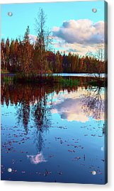 Bright Colors Of Autumn Reflected In The Still Waters Of A Beautiful Forest Lake Acrylic Print