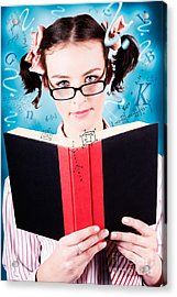Bright Cute Girl Studying Education Textbook Acrylic Print