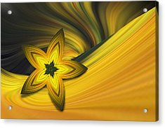 Bright Golden Star Acrylic Print by Linda Phelps