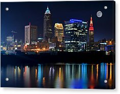 Bright Lights City Nights Acrylic Print by Frozen in Time Fine Art Photography