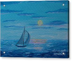 Bright Moonlit Night Acrylic Print by Barbara Griffin