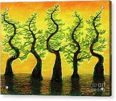 Bright Moss Hidden Bunnies Acrylic Print