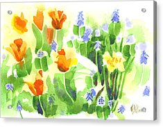 Acrylic Print featuring the painting Brightly April Flowers by Kip DeVore