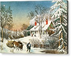 Bringing Home The Logs Acrylic Print by Currier and Ives