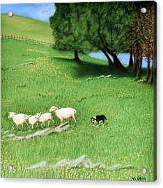 Acrylic Print featuring the pastel Bringing Them In  by Jan Amiss
