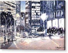 Brisbane Cityscape #2 Study Acrylic Print by Sof Georgiou