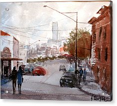Brisbane Paddington Street Scene Acrylic Print by Sof Georgiou