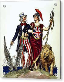 Britannia And Uncle Sam - Friends And Allies  1918 Acrylic Print by Daniel Hagerman