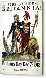 Britannia And United States - W W 1 Solidarity  1918 Acrylic Print by Daniel Hagerman