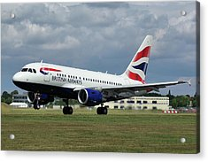 Acrylic Print featuring the photograph British Airways A318-112 G-eunb by Tim Beach