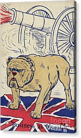 British Bulldog Stading On The Union Flag And With A Cannon Firing Acrylic Print