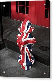 British Fire Hydrant Acrylic Print by Rae Tucker