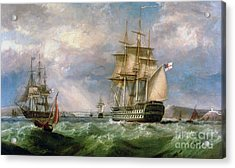 British Men-o'-war Sailing Into Cork Harbour  Acrylic Print by George Mounsey Wheatley Atkinson