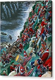 British Soldiers Make The Arduous Ascent Of The Heights Of Abraham To Take Quebec Acrylic Print by Peter Jackson