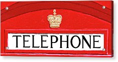 Acrylic Print featuring the mixed media British Telephone Box Sign by Mark Tisdale