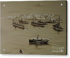 British Warships In Malta Harbour 1941 Acrylic Print