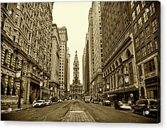 Broad Street Facing Philadelphia City Hall In Sepia Acrylic Print by Bill Cannon