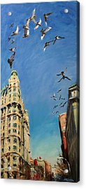 Broadway Pigeons No. 1 Acrylic Print by Peter Salwen