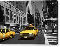 New York Broadway - Yellow Taxi Cabs Acrylic Print