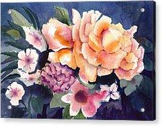Brocade Flowers Acrylic Print