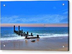 Acrylic Print featuring the digital art Broken Pier by Sharon Batdorf