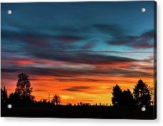 Broncos Sunset In Denver Acrylic Print