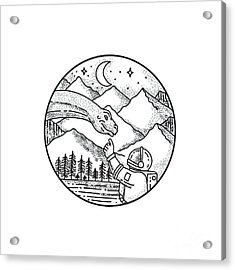 Brontosaurus Astronaut Mountain Circle Tattoo Acrylic Print