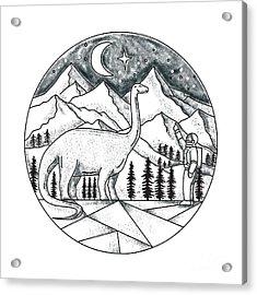 Brontosaurus Astronaut Mountains Tattoo Acrylic Print