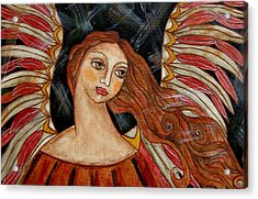 Bronze Angel Acrylic Print by Rain Ririn