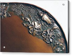Bronze Tray Detail With Beetle Acrylic Print by Dawn Senior-Trask