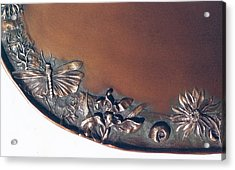 Bronze Tray Detail With Locust Acrylic Print by Dawn Senior-Trask