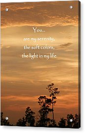 Bronzed Sunset Quote Acrylic Print