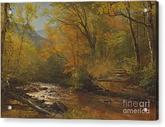 Brook In Woods Acrylic Print by Albert Bierstadt