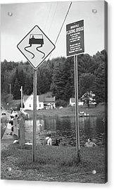 Acrylic Print featuring the photograph Brookfield, Vt - Floating Bridge 2 Bw by Frank Romeo