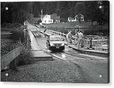 Acrylic Print featuring the photograph Brookfield, Vt - Floating Bridge 3 Bw by Frank Romeo