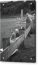 Acrylic Print featuring the photograph Brookfield, Vt - Floating Bridge 4 Bw by Frank Romeo